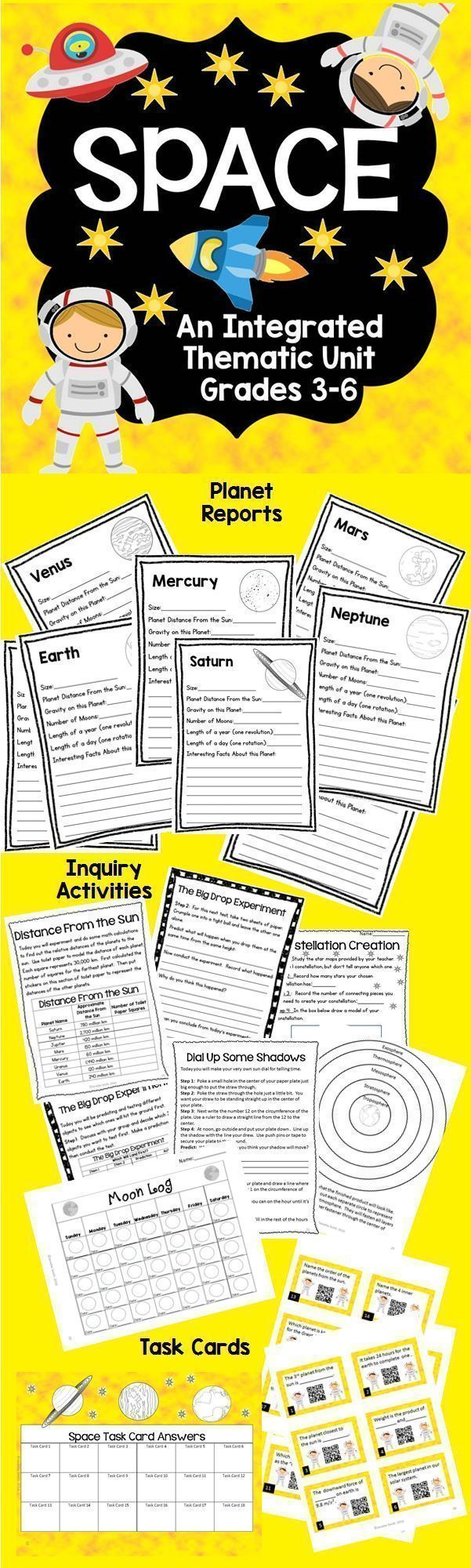 Engage your students in this inquiry-based space unit. Pages for planet reports…