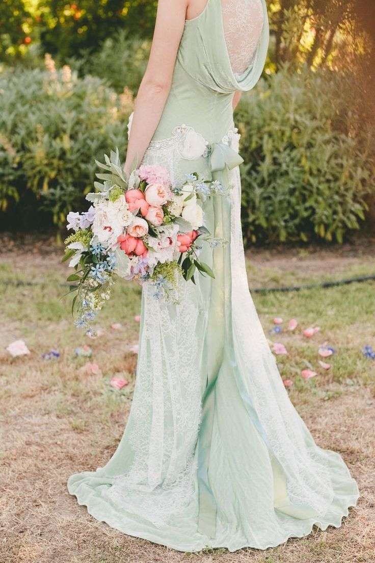 Mint green Claire Pettibone dress. Too pretty! Project Wedding styled shoot by Katelin Gallagher and onelove Photography