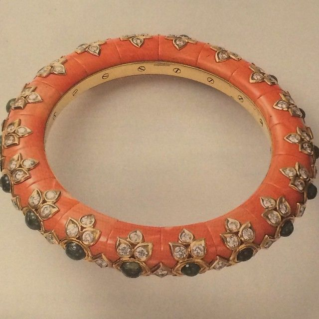 CARTIER coral,emerald and diamond bracelet  Going through the much more extensive books of archives at home in NC and came across this incredible bangle that never ceases to amaze.