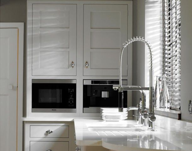 Double Wall Ovens And The Curved Counter End. Bespoke Kitchen For Small  Spaces.