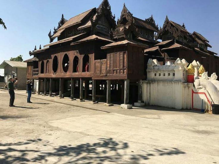 """A hundred-year old Teak wood monastery named """"Yan Pyay"""" is located  near Inlae Lake,southern Shan state."""