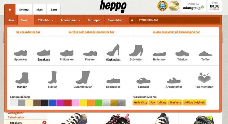 Selección de forma de zapato en Heppo
