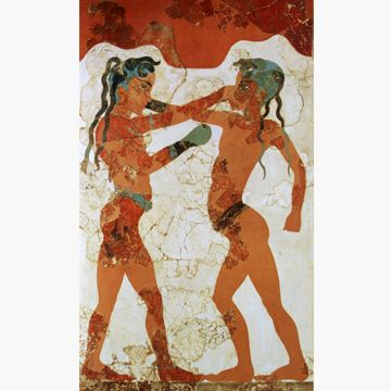 The Boxers, the fresco from Akrotiri in Santorini, shows two youths boxing, perhaps a ritual sport rather than a competitive match. Dimensions: 15 x 10 x 6 cm.