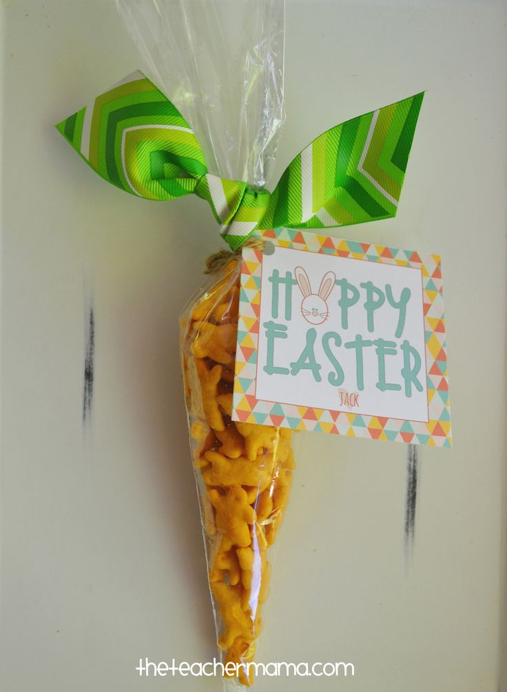 Easter class treat - cheese cracker filled carrots - free printable gift tag