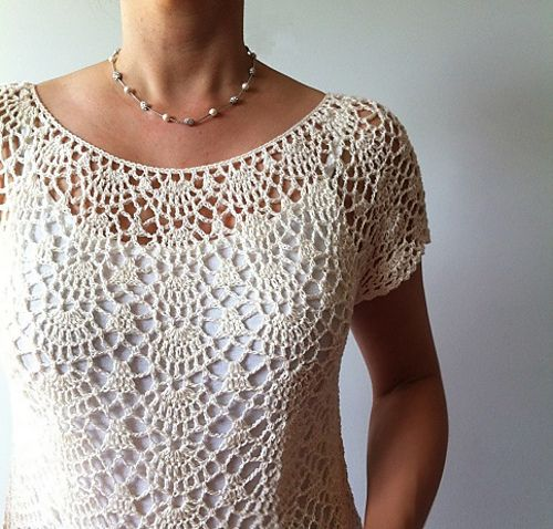 Beginner Crochet Top Patterns Free : Ada - lacy shells top by Vicky Chan. Another gorgeous ...