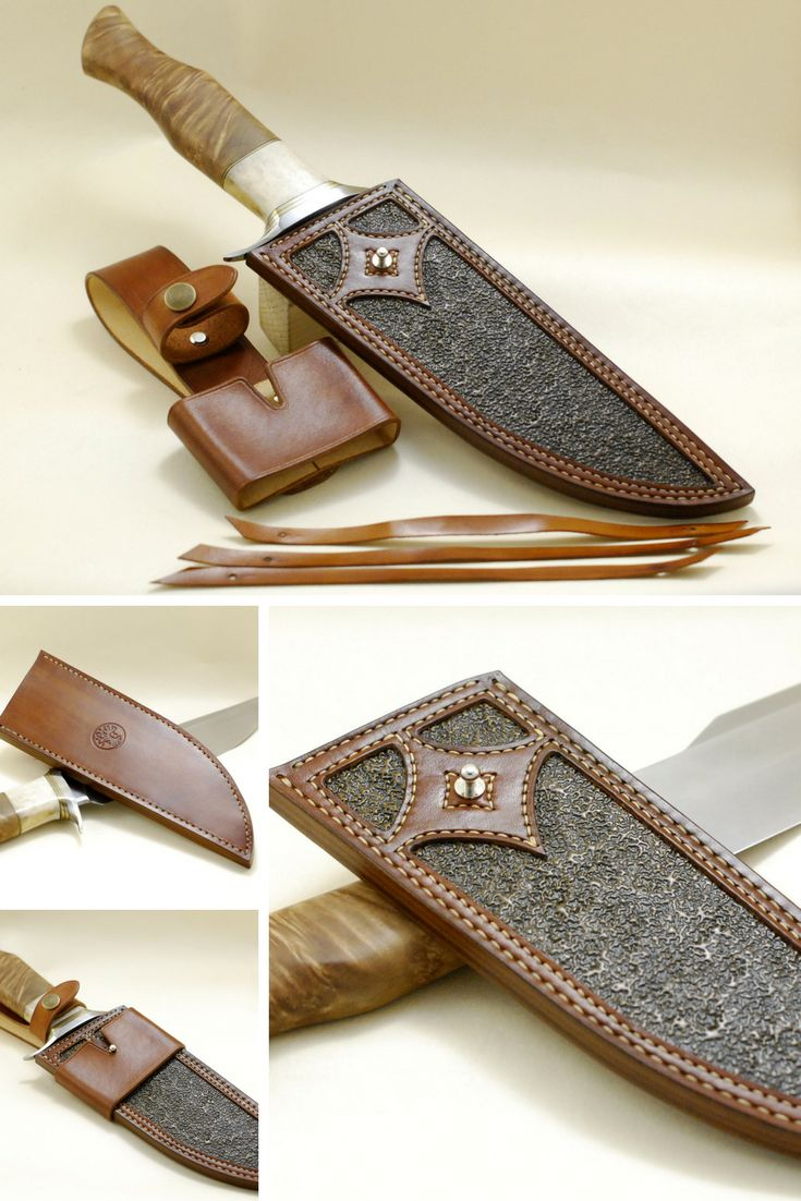 Custom handmade bowie sheath, natural stamped leather