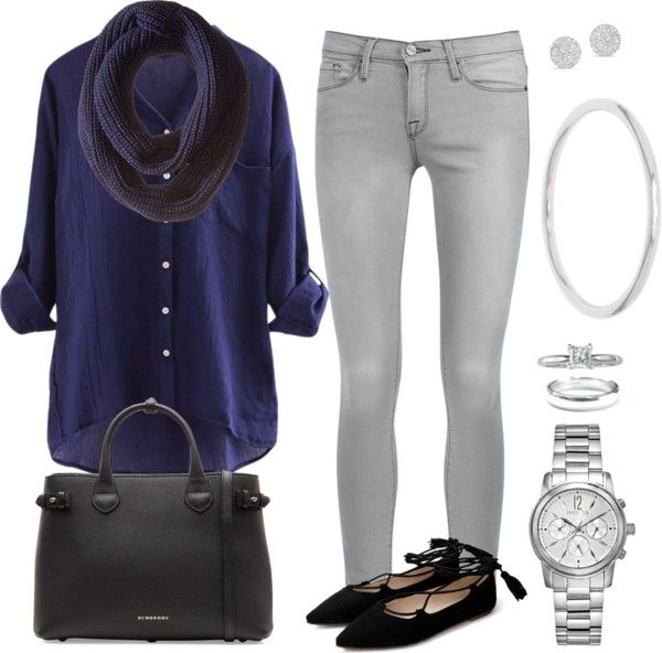 Mis combinaciones diarias: Blusa Azul Osc Jean gris Claro
