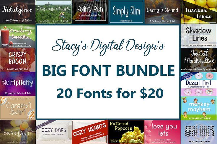 Download Big Font Bundle - 20 Handwritten Fonts (474613) | Packs ...