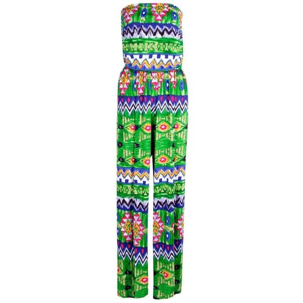 Boohoo Emily Aztec Printed Jumpsuit ($20) ❤ liked on Polyvore featuring jumpsuits, aztec jumpsuit, jump suit and boohoo jumpsuits
