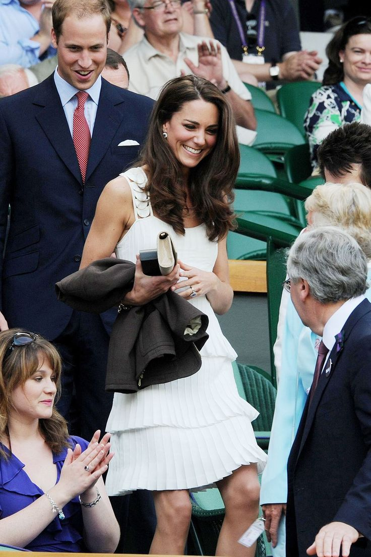 The Duchess payed homage to the Wimbledon whites player's dress code in a pleated Temperley London dress in 2011.