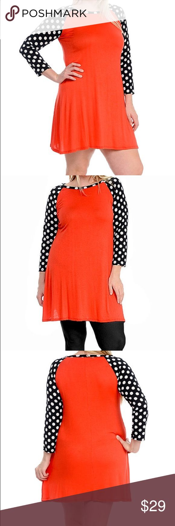 Red Polka Dot Swing Tunic Dress Plus Size 1XL A subtle swing cut flatters your figure in this simple tunic dress. Playful polka dots refresh the sleeves and neckline with playful energy and eye-catching contrast.  Size 1X: 36'' long from high point of shoulder to hem. Looks more red than in the stock photo. See other photos. Celeste Dresses Midi