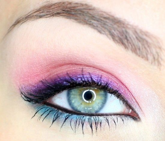 Pink, purple, blue eye look: Ideas, Makeup Geek, Summer Looks, Beautiful, Blue Eye Makeup, Hazel Eye, Pink Blue, Blue Eyeshadows, Bright Colors