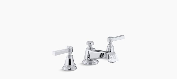 Pinstripe® Widespread bathroom sink faucet with lever handles The water-saving K-13132-4B bath sink faucet has ergonomic ADA-compliant lever handles and a classic Deco style that complements traditional bathrooms.
