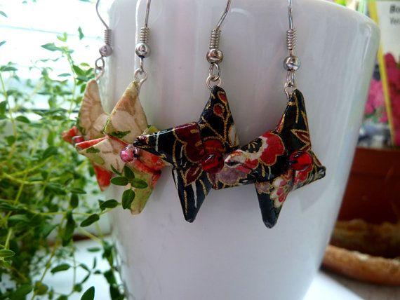 Origami Star Earrings dangle Earrings Star Paper by MarysaArt