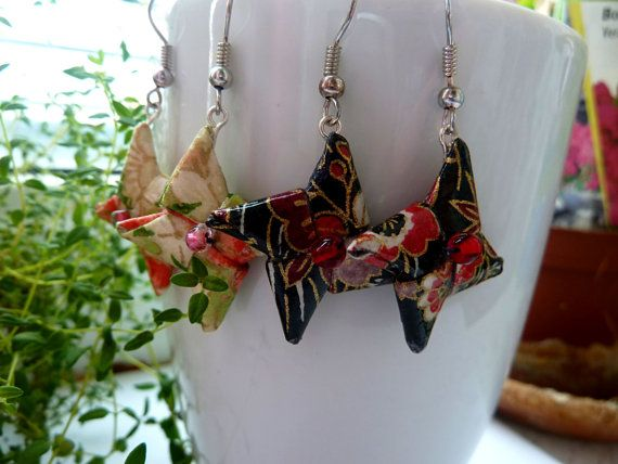Origami Star Earrings dangle Earrings Star Paper by MarysaArt