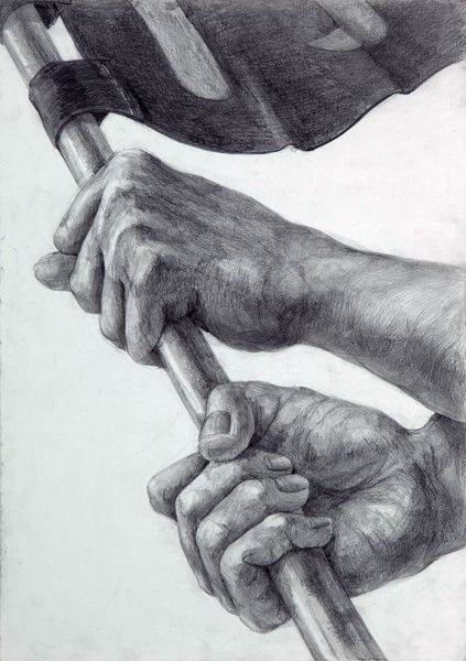 Zwei Hände halten Stange  Paddelboot Ruder Fahne Hände zeichnen