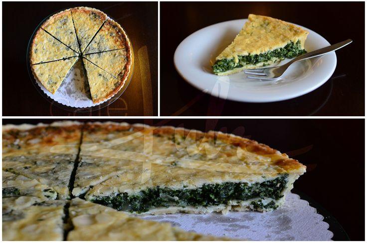 Slaný koláč s listovým špenátem a parmazánem