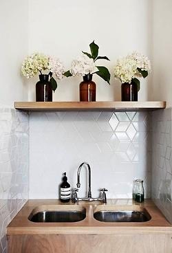 brown bottles + white florals