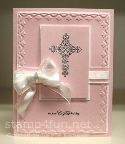 Crosses of hope Embossed Baptism Card by StampingSelene - Cards and Paper Crafts at Splitcoaststampers