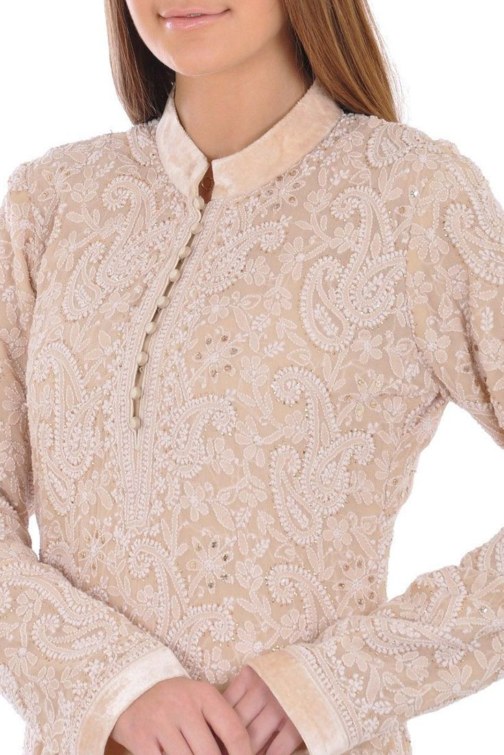 Champagne Hand Embroidered Chikankari With Kamdaani Suit