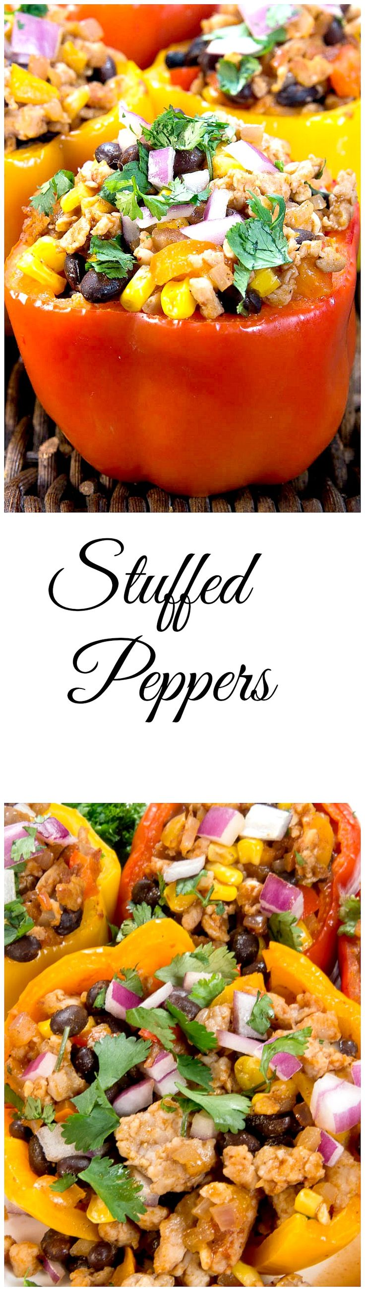 """MEXICAN STYLE STUFFED PEPPERS. SIMPLE, HEALTHY, AND FUN. A healthy way to have Mexican for dinner. Loaded with chicken, vegetables, beans, corn and Mexican spice, """"arriba"""" will be all that is left to say!"""
