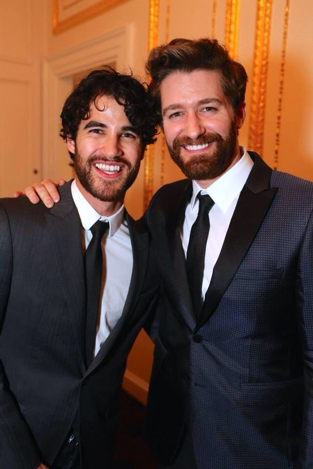 Darren Criss and Matthew Morrison at the opening night after party for Finding Neverland on Broadway
