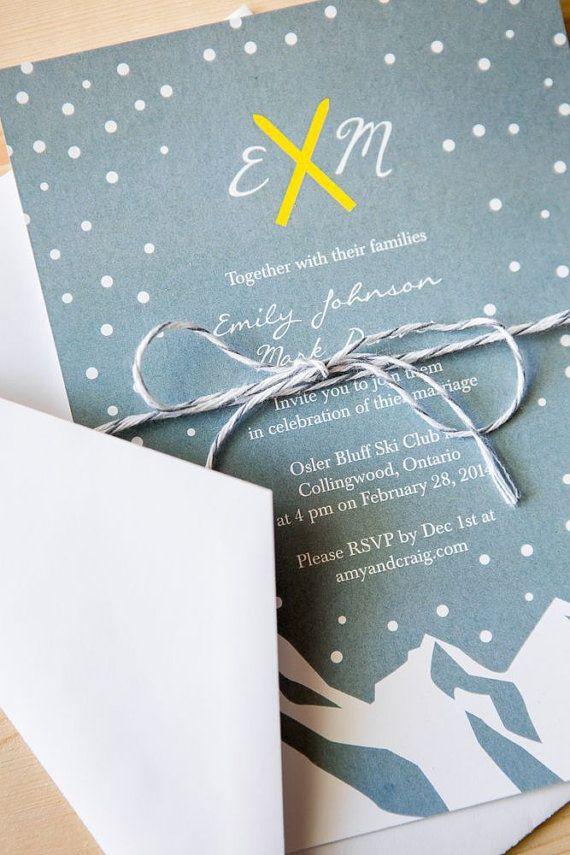 Wedding Invitation Package - ski themed on Etsy, $99.81