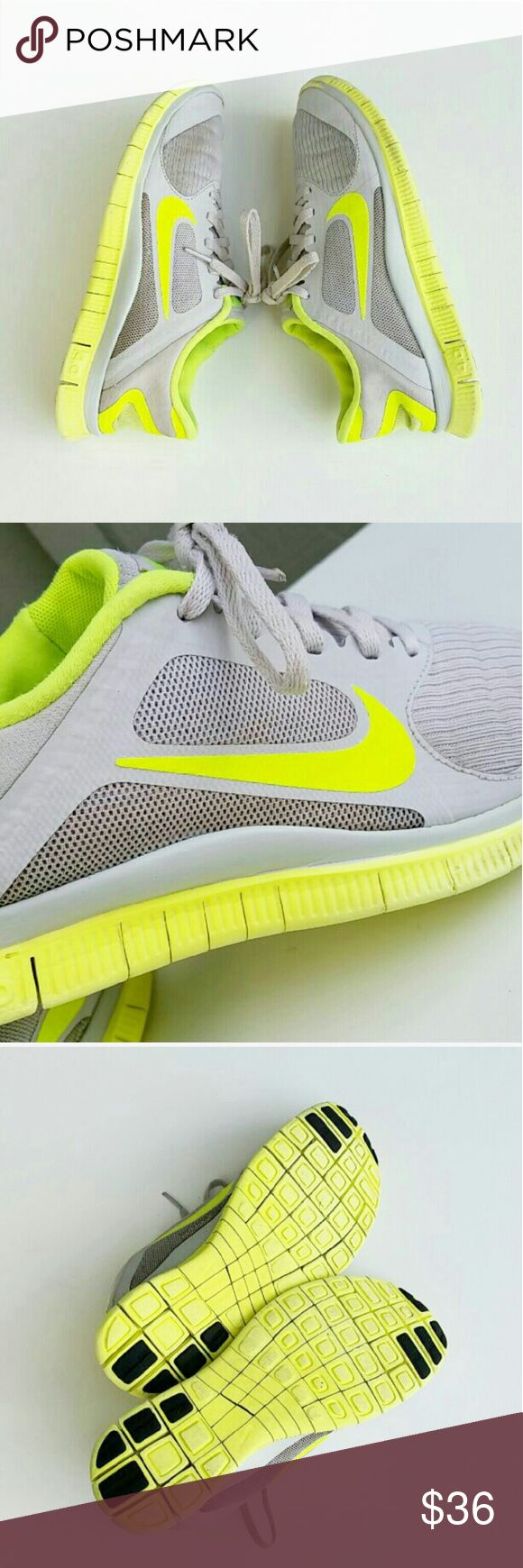 Women's Nike authletic shoes size 8.5 Women's Nike Free 4.0 authletic shoes. Very bright lime green color with light grey fabric and laces. Very comfortable for jogging,  running, exercising, sports! Pre owned condition but still in great shape.  Only in the front of the shoes the grey is starting to wash off to lime green. See the tips of the shoes on picture #1. Other then that.. there is no rips, holes, stains or anything like that. Very light weight. Size 8.5 Nike Shoes Athletic Shoes