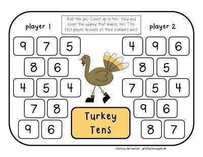 gwhizteacher, thanksgiving math games, math daily 5 stations, 1st grade math games, turkey tens game
