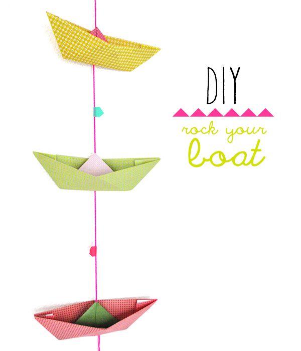 papieren bootjes vouwen/ DIY rock your boat