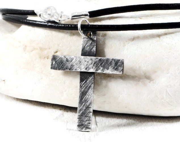 Personalized Sterling Silver Hammered Cross Necklace.