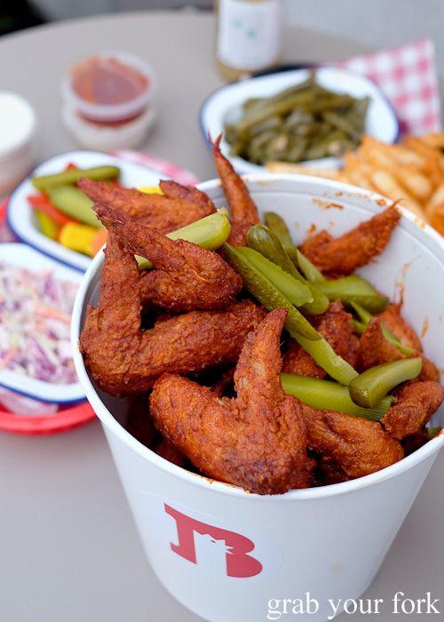 Baller Bucket of hot wings from Belles Hot Chicken at Wulugul Pop Up, Barangaroo