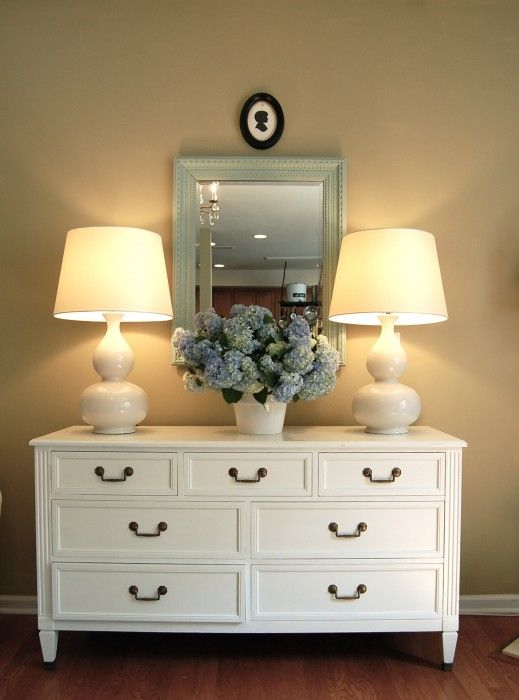 clean style mix of country and modern. love the white dresser.