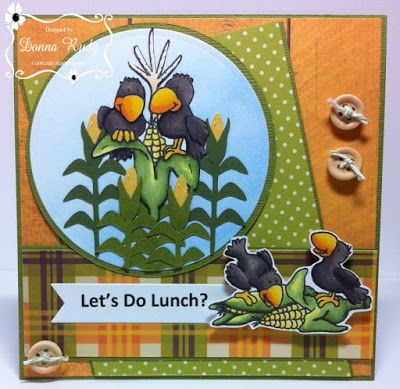 """ONECRAZYSTAMPER.COM """"let's do lunch"""" by Donna using High Hopes Rubber Stamps """"We're All Ears"""" (K034), """"Cawnie and Cawrls Lunch"""" (H153)"""