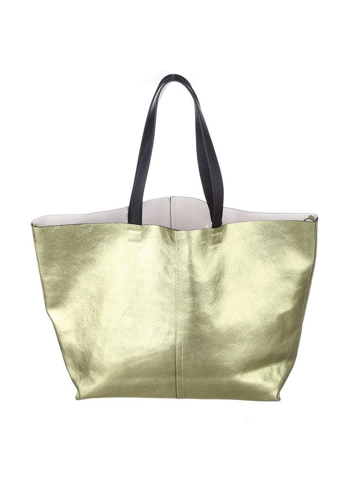 New & Other Stories Gold Leather Bag Tote Shiny Large Purse  #OtherStories #TotesShoppers