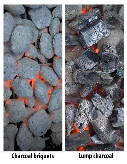 All about charcoal briquets (or briquettes), hardwood lump charcoal, and whole wood charcoal, how it is mad, how to use them, and which is better.
