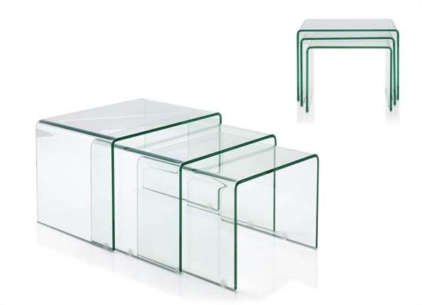 Mesas Nido Modernas Glabra Material: Cristal Estas preciosas mesas nido de cristal son un complemento perfecto un salon moderno donde el espacio sea muy reducido.Mesas,Nido,Cristal,Diseno... Eur:423 / $562.59