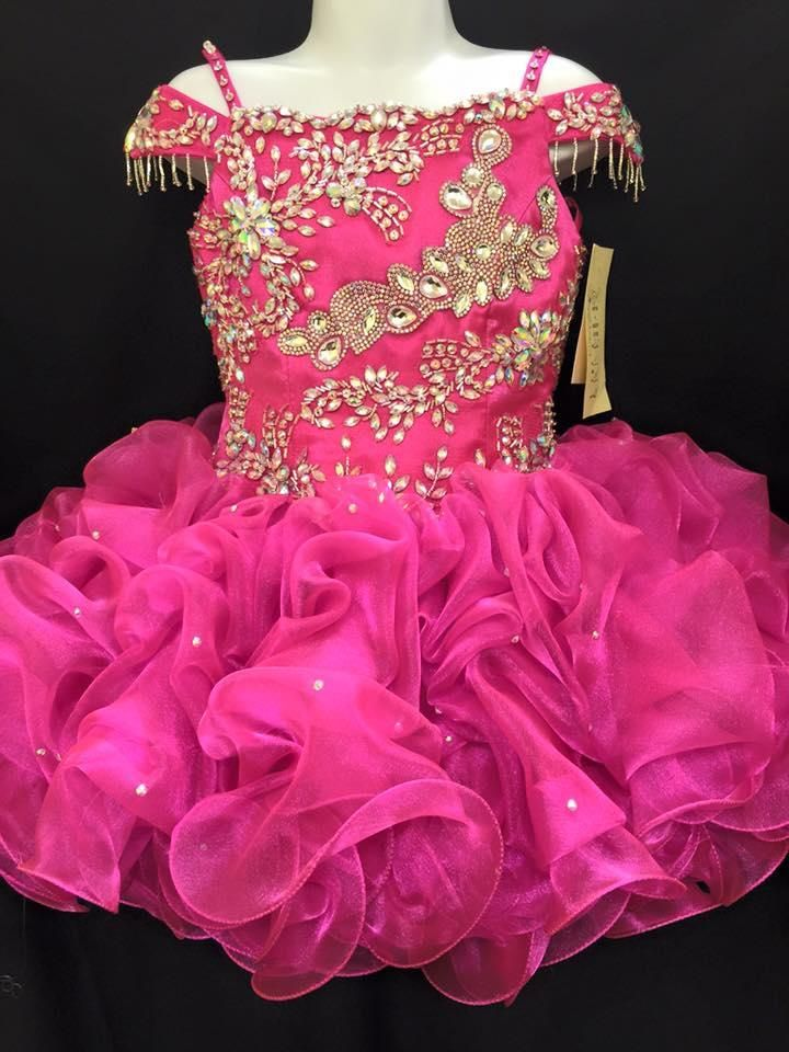 2016 Girls Pageant Dresses With Straps And Crystals Real Pictures Tiered Ruffled Organza Cupcake Girls Gowns Off Shoulder Pageant Dress For Toddlers Pageant Dress Rental From Uniquebridalboutique, $70.32| Dhgate.Com