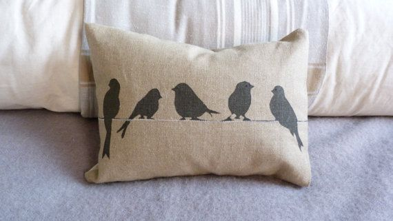 We love bird designs - but this one has to be our new favourite. Simple, classy and so yummy! hand screen printed bird on a wire cushion by helkatdesign on Etsy, $66.00