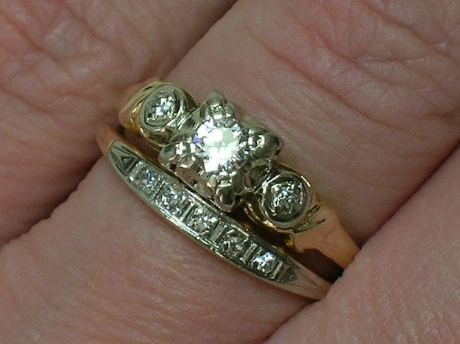 Two tones vintage wedding ring   Vintage Wedding Ring Set  1930s Two Tone  Elegance 37 best jewlery images on Pinterest   Vintage weddings  Jewlery  . Etsy Vintage Wedding Rings. Home Design Ideas