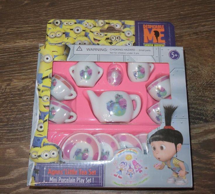 Despicable Me Agnes Little Tea Set Kittens Miniature Porcelain Minion Mayhem NEW #UniversalStudios