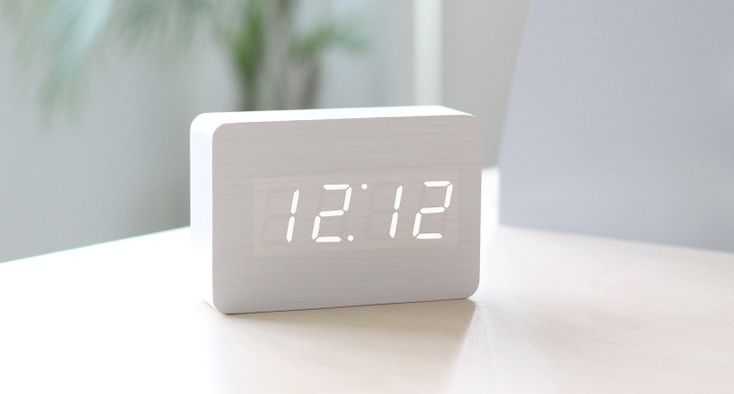 Simple and understated, this Wood LED Clock works with almost any space and in any room. The clever clock has a thin layer of veneer on the face that allows the LED lights to shine through. Perfect on a night stand.