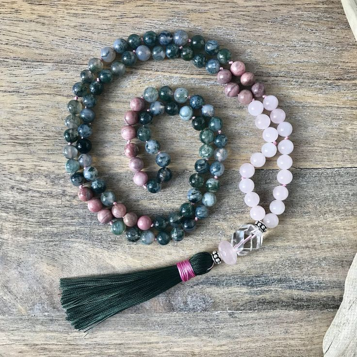 Moss Agate, Rhodonite and Rose Quartz Mala Beads  / Japa Mala / 108 mala Necklace / Meditation Gifts / Yoga necklace / Gifts for Her by SharonweinDesigns on Etsy