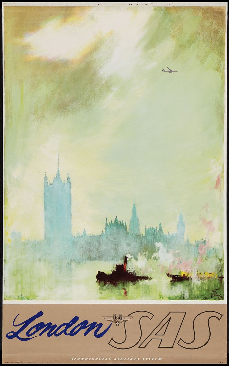 London,  SAS Travel Poster, 1950s; Design by Otto Nielsen