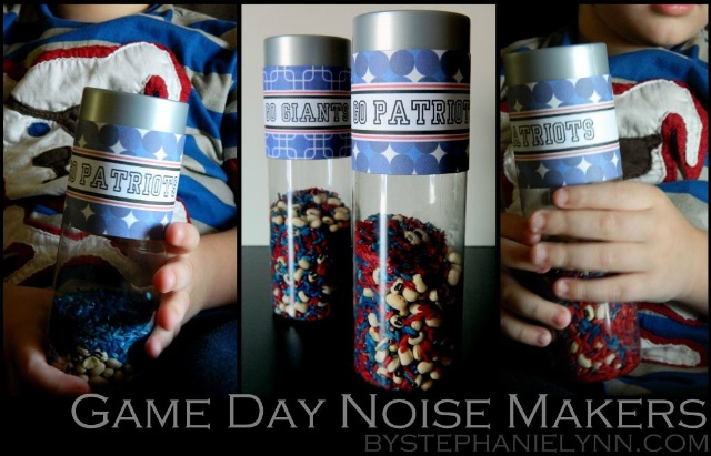 Game day noise makers. My girls might be too old for these but I'm taking the download and wrapping it around water bottles for the Super Bowl Party.  Cute.