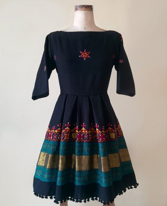 Black Hand Woven and Hand Embroidered Dress by MograDesigns