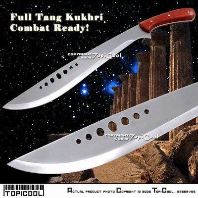 Full Tang Combat Bolo KUKHRI Sword Knife Sharp Sheath by Etrading. $22.50. This Ghurka Kukri has a less aggressive curve but  still has the same devastating slashing capabilities of its predecessors. The blade is 440 stainless steel with a full tang. The handle of the Ghurka Kukri is  wooden with three steel pins holding the tang.