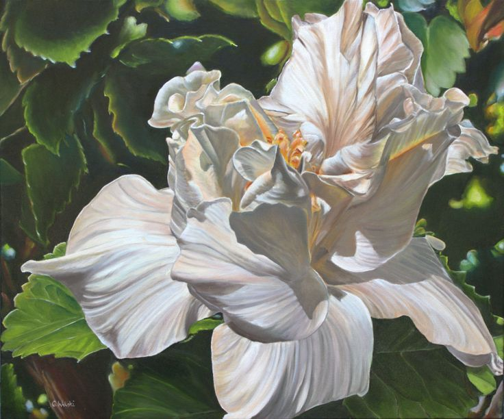 "Grazyna Wolski-Double Hibiscus Swirl"" -oil on canvas"