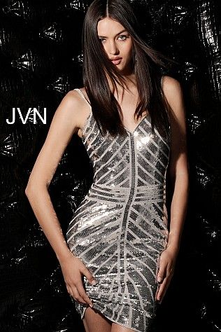 5babdbae768 Silver Sequin Fitted V Neck Homecoming Dress JVN64156 #JVN #cocktaildress  #newcollection #2018 #partydress #shortdress