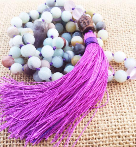108 MALA collier bouddhiste méditation Malas mat Amazonite pompon violet prière Mala Mala Bouddha améthyste Yoga Mala colliers de perles